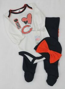 NFL Chicago Bears Newborn Girls 3 Piece Creeper, Pants and Cap Set 3-6 Months