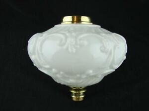 LARGE MOULDED WHITE GLASS OIL LAMP FONT, ART NOUVEAU DECORATION, 23mm UNDERMOUNT