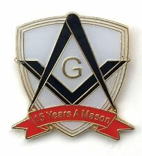 15 Years a Mason Masonic Commemorative Lapel Pin Badge *Exclusive*