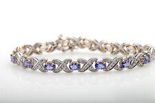 Designer $8000 15ct Natural Tanzanite Diamond 14k Gold Tennis Bracelet