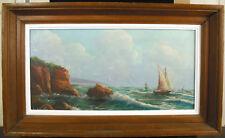 J Chometon Marine bords de mer rochers & bateau de pêche fishingboat c1930 paint