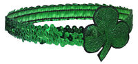 St Patrick's Day Shamrock Hairband Sequin Clover Headband Elastic Hair Accessory