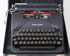 Antique 1945 Smith-Corona Sterling Portable Manual Typewriter in Case Black Deco