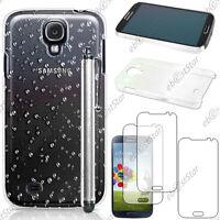 Housse Etui Coque Gouttelettes Blanc Samsung Galaxy S4 i9500 + Stylet + 3 Films