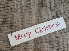 Merry Christmas Tree Wooden Hanging Sign Plaque Shabby Chic Gift East of India