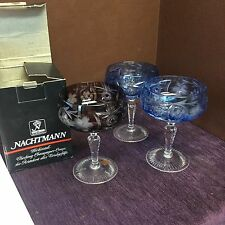 3 Bohemian, Ajka, Marsala, Nachtmann Cut to Frosted  5.25 inch wine glasses