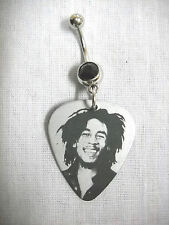 YOUNG BOB MARLEY SILVER & BLACK PHOTO GUITAR PICK ON BLACK CZ BELLY BUTTON RING