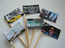 12 CUPCAKE TOPPER / FLAGS - NYC NEW YORK CITY USA