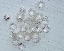 100 Perlenkappen, silberfarben filigran, 10 x 4 mm A1141