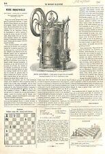 Moteur à Vapeur fixe /Locomobile Hermann-Lachapelle & Glover 1866 ILLUSTRATION
