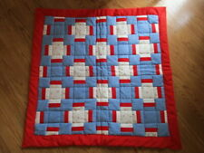 Small Quilt Blanket Wall Hanging or Lap Size 35 x 36- Red, Blue, White