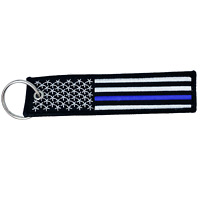 EE-001 Thin Blue Line Police Flag Law Enforcement Keychain or Luggage Tag or zip