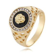 Vintage Men Gold Stainless Steel Pinky Engagement Ring Wedding Jewelry Size 9 RH