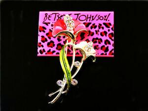 Betsey Johnson beautiful Pink Enamel Flower Charm Women's Brooch Pin