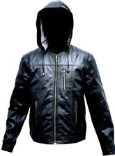 Mens Leather Hood Jacket Fashion Trendy Soft Removable Winter Hood Jacket