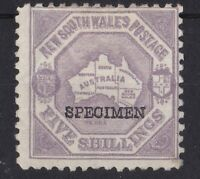 NSW116) New South Wales 1890 Centenary perf 10 5/- Lilac SG 263s