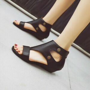 Women Flat Heel Roman Shoes Open Toe Hollow Out Casual Comfort Summer Sexy Shoes