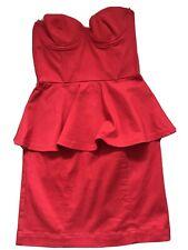 Red Boob Tube Peplum Dress Size 6-8 H & M 34
