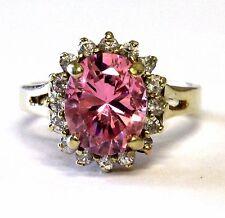 10k yellow gold womens pink ice white cz stone ring 4.8g ladies estate