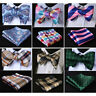 HISDERN Floral Check Men Woven Silk Wedding Self Bow Tie handkerchief Set#RM1