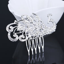 Bridal Wedding Silver Crystal Rhinestone Peacock Hair Comb Tiara Crown hair pin