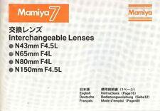 MAMIYA 7 6x7cm CAMERA LENS INSTRUCTION MANUAL -43-150mm MAMIYA 7 CAMERA LENSES