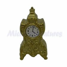 Dolls House Gold Mantel Clock 1/12th Scale (01187)