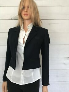 Alexon Blue Wool Crop Blazer Size S Single Breast Black Trim Good Con