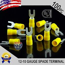 100 Pack 12-10 Gauge Vinyl Spade Fork Crimp Terminals #8 Stud Tin Copper Core UL