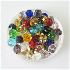 70 New Charms Faceted Round Flat  Glass Crystal Rondelle Spacer Beads Mixed 4mm