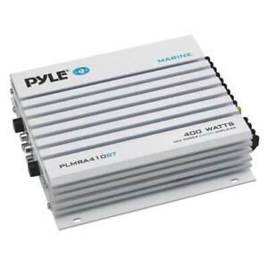 Pyle PLMRA410BT Bluetooth 400 Watt 4 Channel Waterproof Marine Boat Amplifier