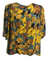 Vtg 80s/90s Tropical Women UK 14 Botanical Crop Top Shirt Button Up Blouse Arty