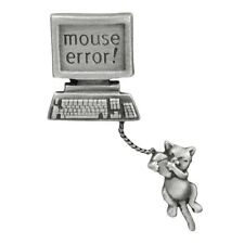 Chelsea Pewter Jewelry - Mouse Error! Computer with Hanging Cat  Pin
