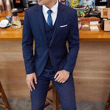 Men's Dark Blue Stripe Slim Fit Suit Groom Tuxedos Wedding Dinner Business Suit