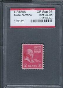 US Scott #806 Mint OG NH 2 cent John Adams, PSE XF-SUP 95 (Encapsulated)