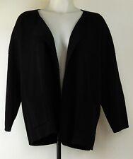 Eileen Fisher Black Open Front 3/4 Sleeve 100% Wool Cardigan Sweater L