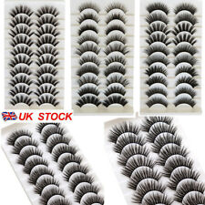 5/10Pair 3D Mink False Eyelashes Wispy Cross Long Thick Soft Fake Eye Lashes  UK