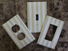 ❤️Switch Plate Outlet Covers made w/Mackenzie-Childs Parchment Stripe❤️
