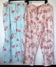 Lot of 2 Pairs Cherokee Flannel Rose Print Pink/Blue Lounge Pajama Pants XXL