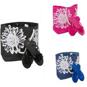 Beach Bag Womens PLUS Flip Flops 2 PCE Set Ladies Large Summer Tote Flower