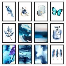 Blue Bedroom Wall Art Indigo Print Home Kitchen Living Room A3/A4/A5 Poster