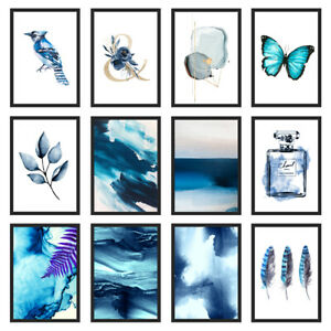 Blue Bedroom Wall Art Indigo Print Home Kitchen Living Room Unframed Poster