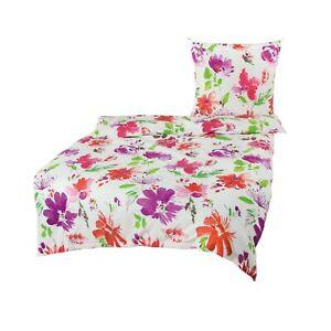 Bierbaum Baumwolle Seersucker Bettwäsche 135x200 Blumen weiß bunt 4tlg 1B