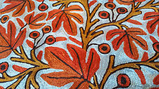 """SILK Leaves 16"""" ARI 100% Covered in Crewel Chain-Stitch Embroidery Pillow-Case"""