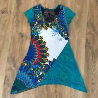 Desigual ladies womens blue multicolor shirt top tunic dress size M