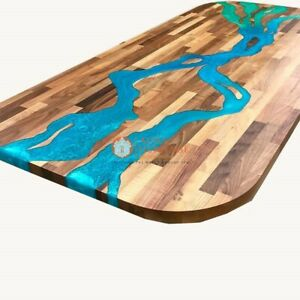 Acacia Wooden Table ,Custom Order, Epoxy Blue Resin River table, Natural wooden