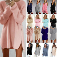 Ladies Sweater Pullover Winter Crochet Knitted Jumper Tunic Long Tops Mini Dress