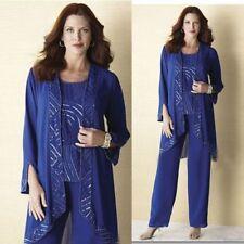 3PCS Sequin Mother Of The Bride Dresses Blue Pants+Suits Custom Plus Size 16/18W