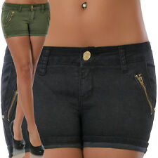 Damen Jeans Hüftjeans Hose Hüfthose Hot Pants Kurze Shorts Capri Slim Stretch