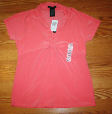 NWT Womens GRACE ELEMENTS Coral Lilly Puckered V-Neck Blouse Top Shirt M Medium
